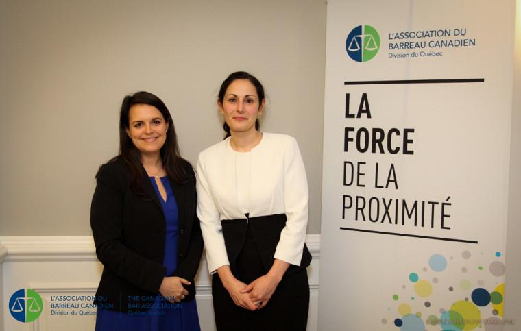 Kristine Plouffe-Malette en compagnie de Me Audrey Boctor, présidente de l'ABC-Québec.