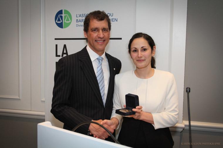 Louis Marquis en compagnie de Me Audrey Boctor, présidente de l'ABC-Québec.