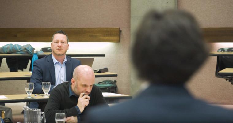 Jonathan Mayer, au second plan, et Martin Masse, à l'avant, lors de l'activité du 18 mars