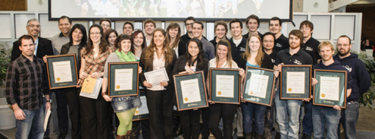 Les récipiendaires 2012 du Défi étudiant.