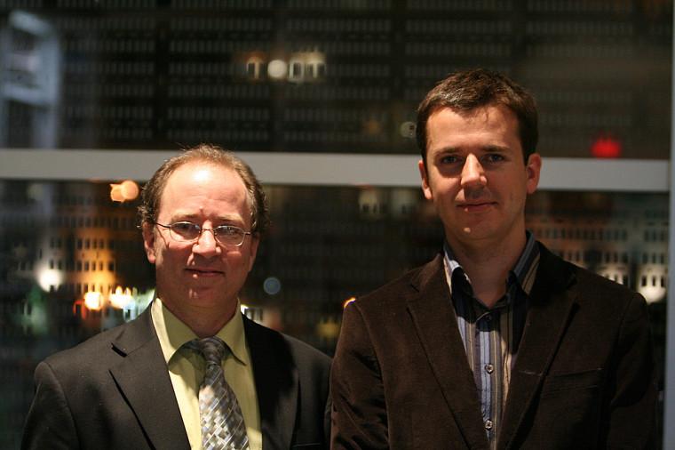 Le professeur Denis Morris et Emmanuel Dupuy au gala de l'ACFAS