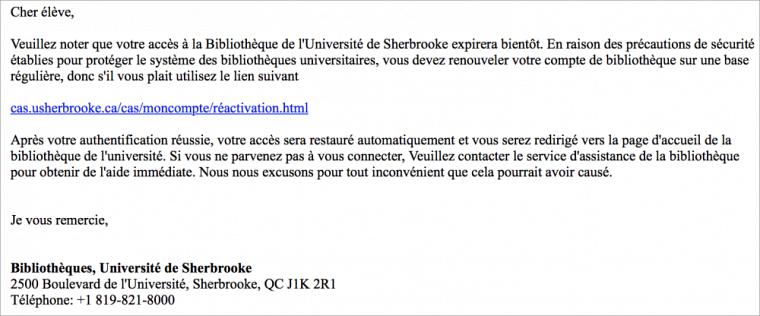 Exemple du courriel d'hameçonnage