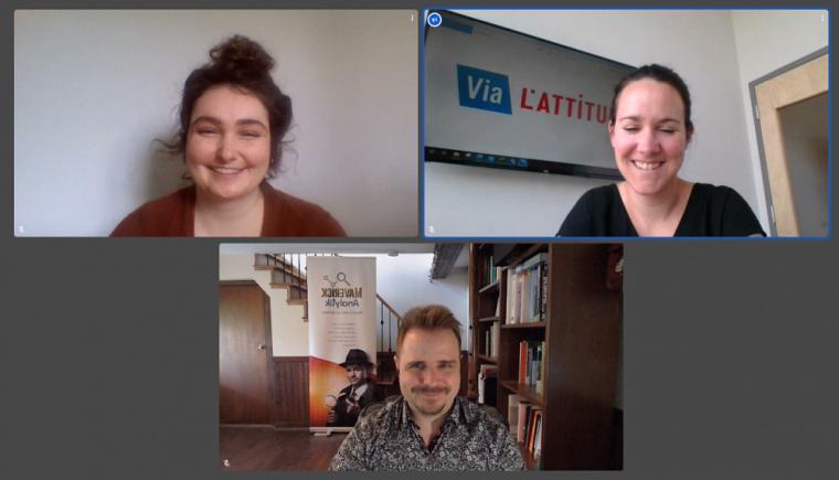 La stagiaire Marie-Pier Bélanger en compagnie de ses deux employeurs, Matthieu Lirette-Gélinas, de Maverick Analytik, etJessica Mackey, de Via L'attitude.