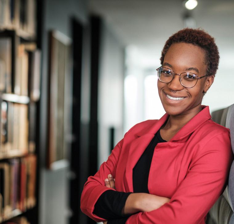 Marie-Clarisse Berger, étudiante au baccalauréat en droit et membre du comité exécutif de l'Association des étudiants noirs en droit – UdeS.