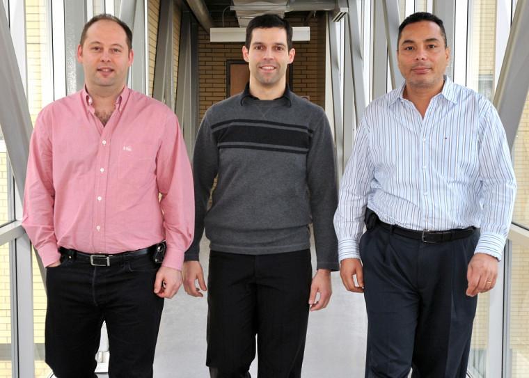 Les trois nouveaux titulaires de la Faculté de médecine et des sciences de la santé : Philippe Sarret, Pedro Geraldes et Sherif Abou Elela.
