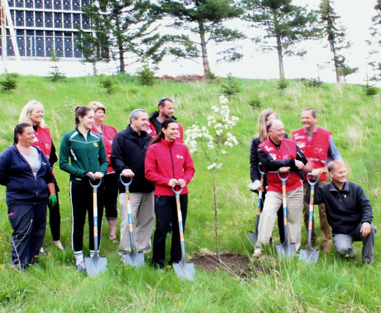 Des membres de l'équipe DD, de l'Opération Nez Rouge, du Service des immeubles et des représentants du Vert & Or ont procédé à la plantation des 16 premiers arbres de la Forêt nez Rouge de Sherbrooke.