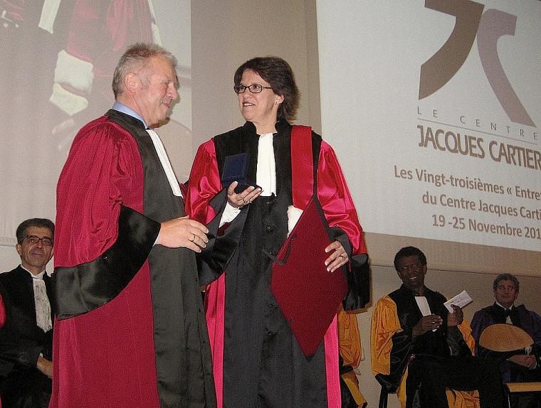 Alain Storck, directeur de l'INSA de Lyon, et la rectrice Luce Samoisette